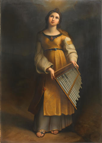 A Berlin (K.P.M.) porcelain plaque: Saint Cecilia  late 19th century
