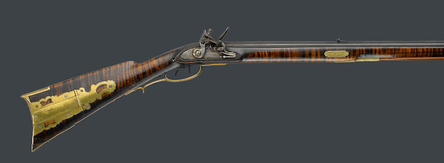 A full-stocked flintlock rifle by John Grandstaff