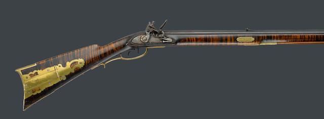 A full-stocked flintlock rifle by John Grandstaff