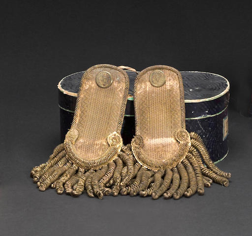 A boxed pair of Massachusetts militia officer's epaulets
