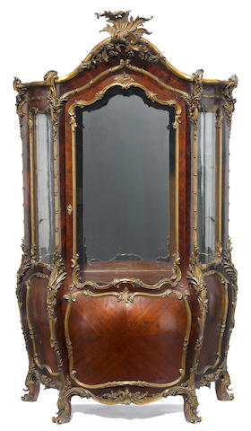 A good quality Louis XV style gilt bronze mounted kingwood vitrine  attributed to Guillaume Grohé third quarter 19th century