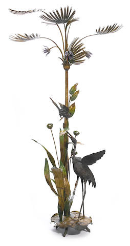 A Continental cold painted bronze and tôle whimsical floor lamp <BR />20th century