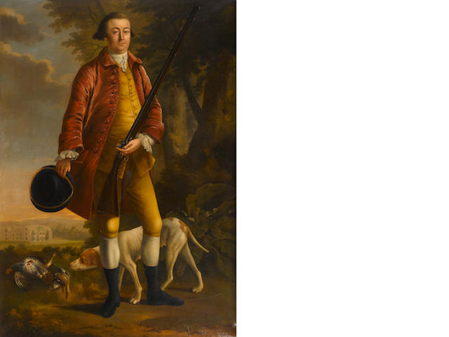 English School A portrait of a gentleman, full-length, with gun and hunting dog 78 x 55in
