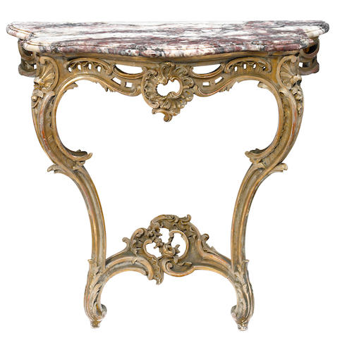 A Louis XV style parcel gilt and paint decorated console table with marble top  <BR />second half 19th century