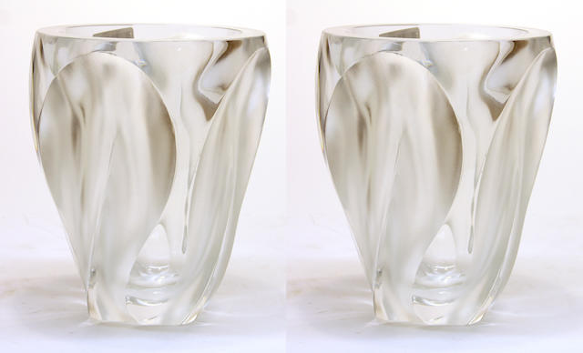 A pair of Lalique molded glass vases