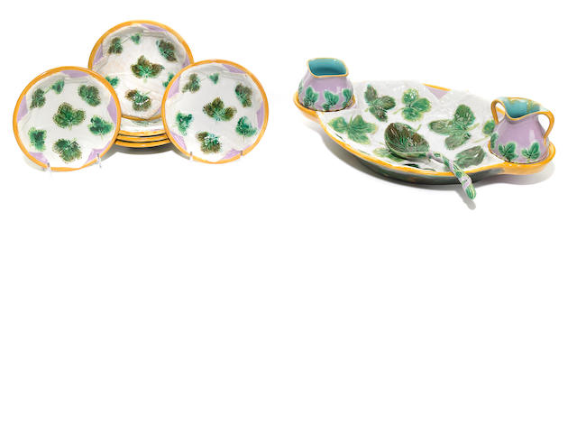 A George Jones majolica strawberry set <BR />circa 1875