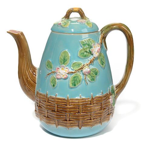 A George Jones majolica teapot <BR />circa 1873