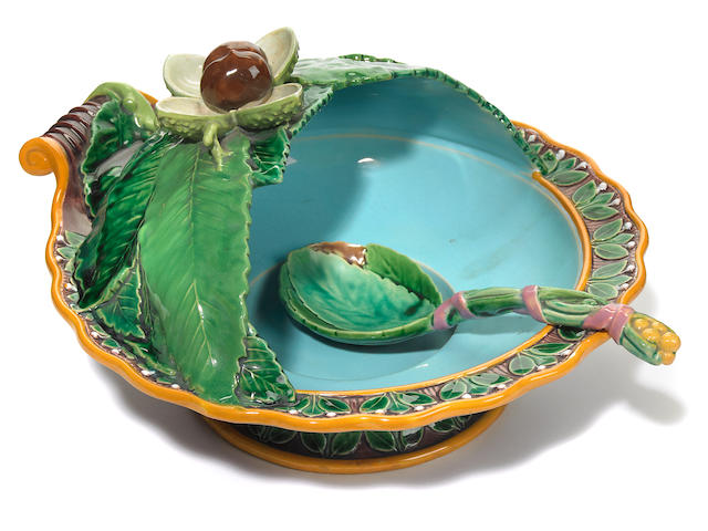 A Minton majolica chestnut dish and spoon <BR /> shape 594<BR />circa 1855