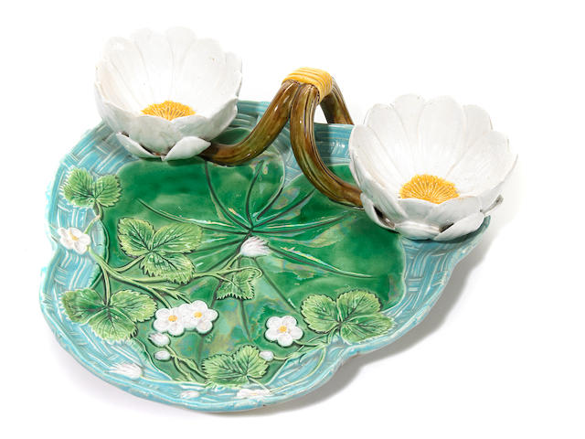 A George Jones majolica strawberry dish <BR />circa 1876