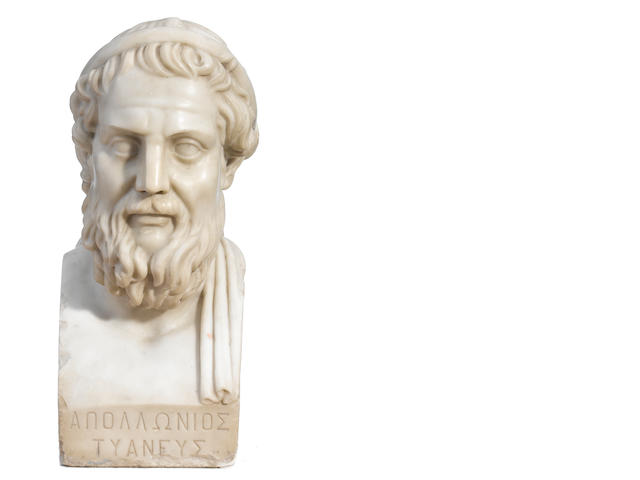 A carved marble bust of a Greek scholar <BR />second half 19th century