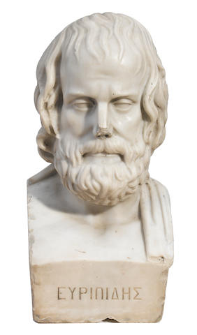 A carved marble bust of a scholar <BR />19th century