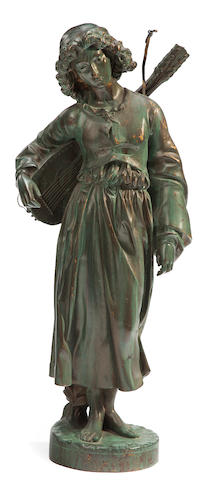 A French patinated bronze figure of a minstrel carrying a lute