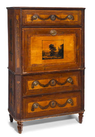 A Continental Neoclassical penwork decorated yew and fruitwood secretary <BR />circa 1800