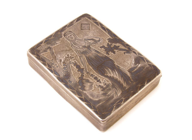 A Russian 84 standard silver and niello playing card case Marked in Cyrillic DK, Moscow, 1890