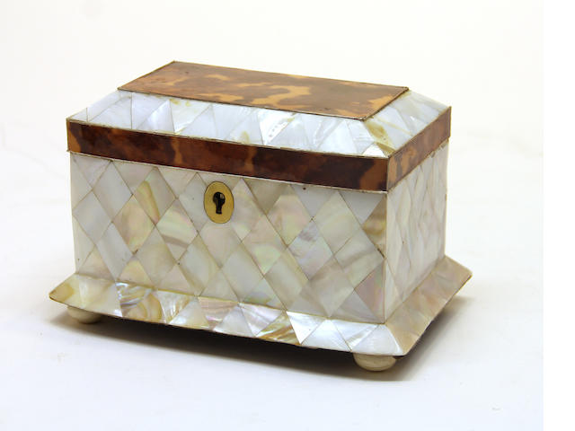 A Victorian style tortoiseshell and mother of pearl tea caddy late 20th century