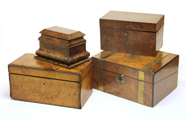 Two walnut tea caddies, lap desk and table box second half 19th century