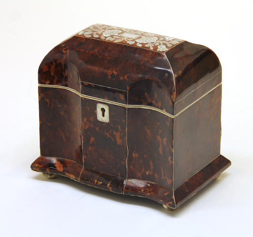 A William IV style tortoiseshell and mother-of-pearl inlaid  tea caddy late 20th century