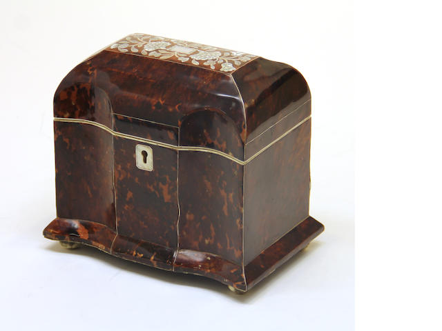 A William IV style tortoiseshell and mother of pearl tea caddy  late 20th century