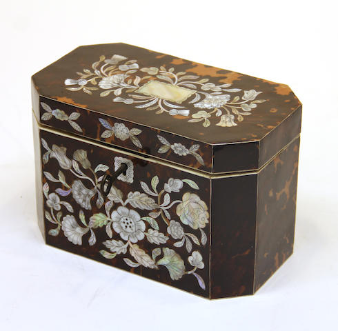 A George IV style tortoiseshell and mother of pearl tea caddy  late 20th century