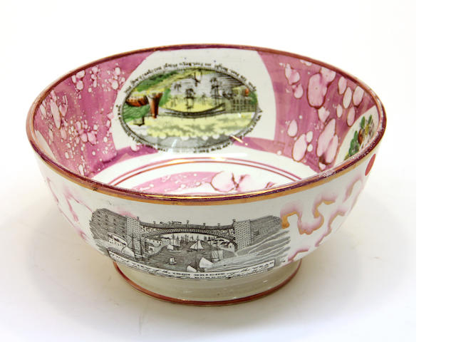 A large Sunderland transfer printed and pink lustre bowl  19th century