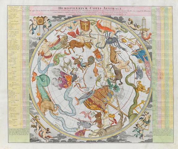 DOPPLEMAYR, JOHANN. HOMANN, JOHANN BAPTIST.  Hemisphaerium Coeli Australe... [and] Hemisphaerium Coeli Boreale....  Nuremberg: Homann, [ca.1730].