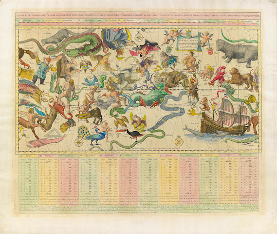 BACKER, REMMET TEUNISSE, after. DE BROEN, J., engraver. Sterre Kaert of Hemels Pleyn, waer door met kan wete hoe laet dat het is over de gehele aertkloot op alle meridiane en polus hoogte, en op wat lengte en brete, de voorsz sterre staen, bezuyde en benoorde de Liniae Aequinoctiael. Amsterdam: Reinier & Josua Ottens, ca.1750.