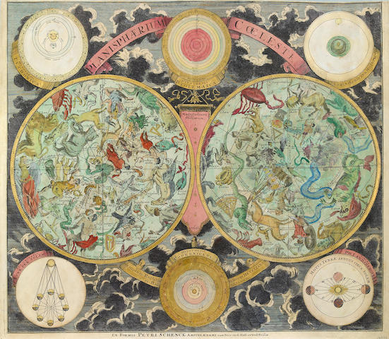 SCHENCK, PETRUS. 1660-1718. Planisphaerium coeleste: secundum restitutionem Hevelianam et Hallejanam. Amsterdam: Shenck, [1705].