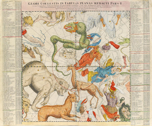 DOPPLEMAYR, JOHANN. HOMANN, JOHANN BAPTIST. Globi Coelestis in Tabulas Planas Redacti Pars I. Nuremberg: Homann, [ca.1730].