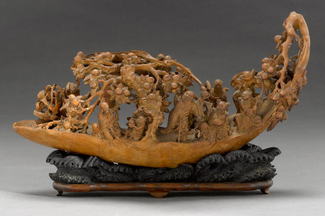 A carved bamboo figural group of the eight immortals on a raft  Late Qing/Republic period