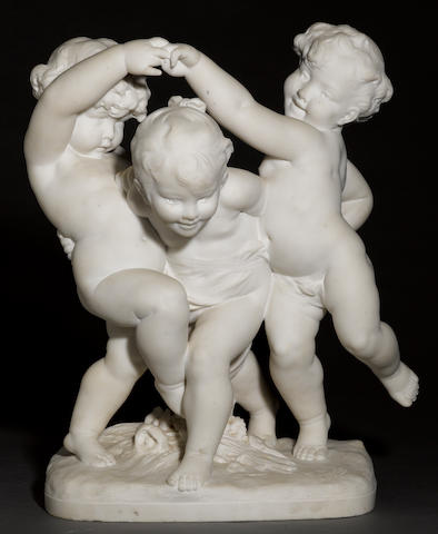 A French marble group of three playful children <BR />after a model by Benoît Rougelet (French 1834-1894)<BR />last quarter 19th century