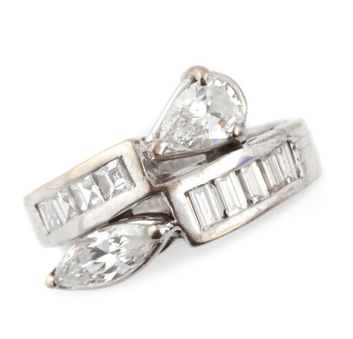 A diamond and white gold bypass ring