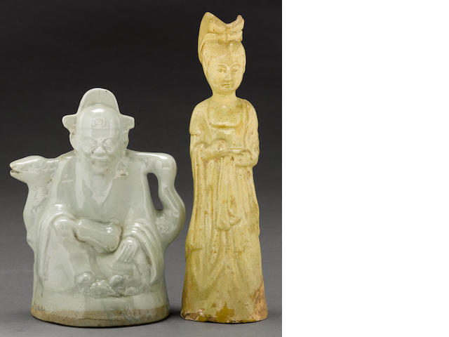 Two glazed pottery figures