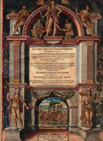DE BRY, THEODOR. 1528-1598. Der Ander Theyl / der Newlicherfundenen Landtschafft Americæ, Von dreyen Schiffahrten/ so die Frantzosen in Floridam (die gegen Niderganggelegen) gethan. Frankfurt: Theodor de Bry, 1591.