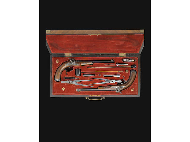 A fine cased pair of German percussion target pistols