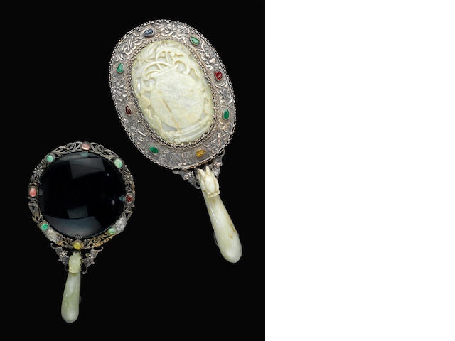 A jade and silver-mounted mirror and magnifying glass