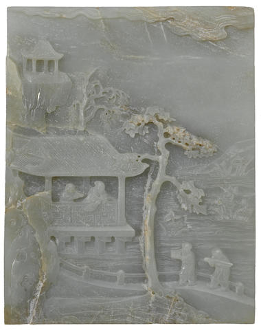 A fine nephrite double-sided rectangular landscape plaque 18th century