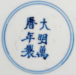 A blue and white porcelain saucer dish Wanli mark and period