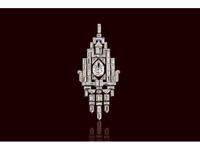 An art deco diamond pendant,