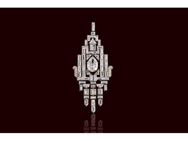 An art deco diamond pendant,