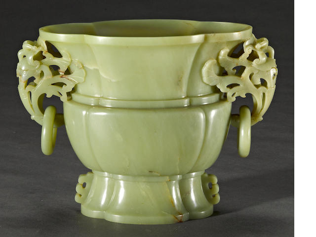 A yellow jade ovoid vase