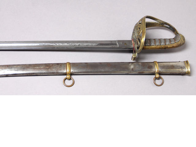 A brass-hilted non-regulation foot officer's sword