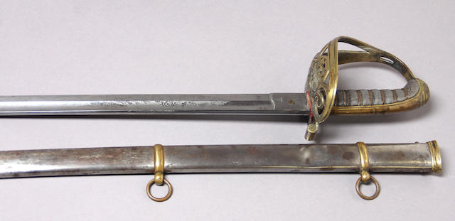 A brass-hilted non-regulation foot officer's sword