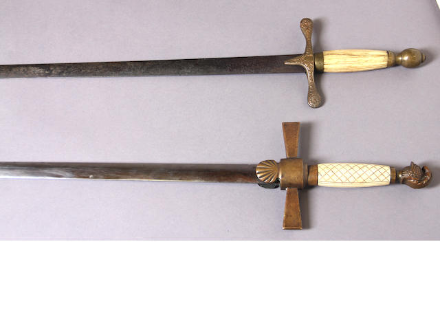 A lot of two militia non-commissioned officer's swords