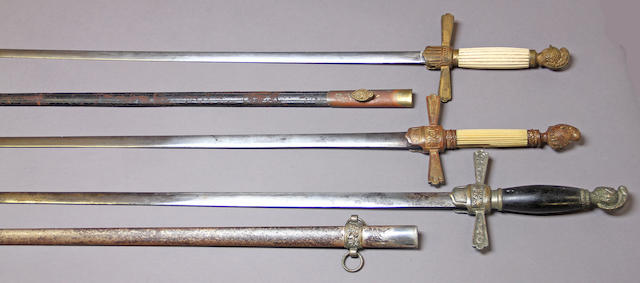 A lot of three militia nco swords