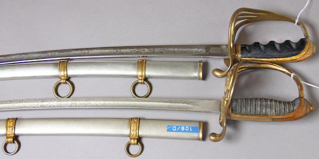 A lot of two American officer's swords