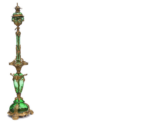A Belle Èpoque gilt bronze and green glass floor lamp <BR />late 19th century