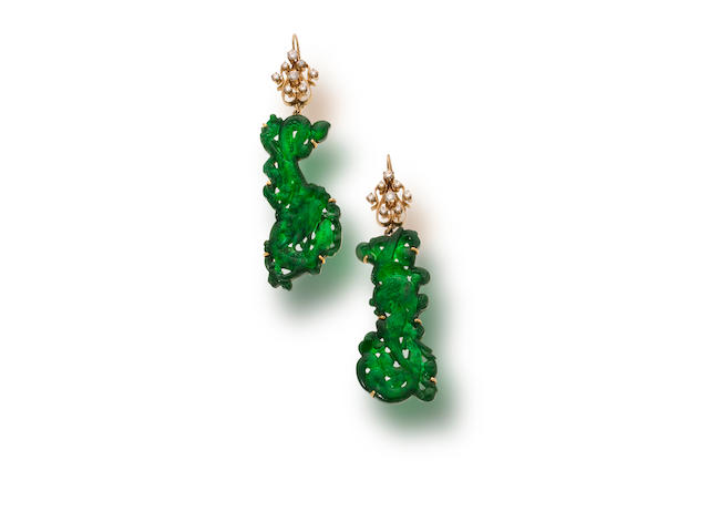 A pair of jadeite jade and diamond pendant earrings