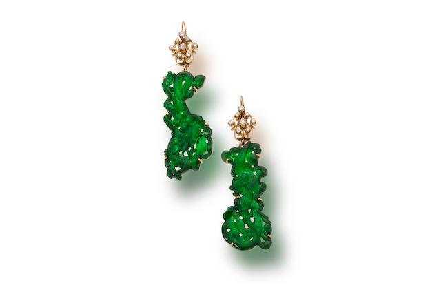 A pair of jadeite jade and diamond pendant earrings