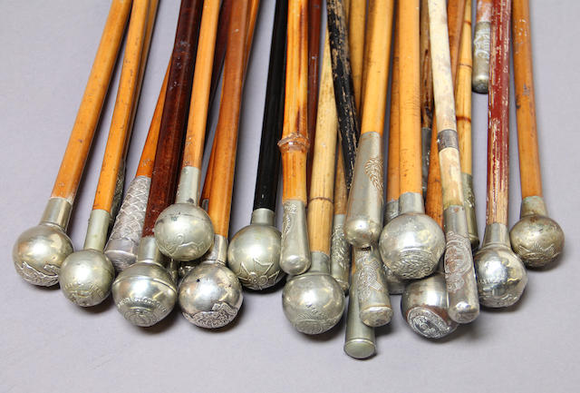 A lot of twenty-six British officer's swagger sticks