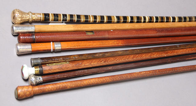 A lot of six swagger sticks, two canes and a quirt